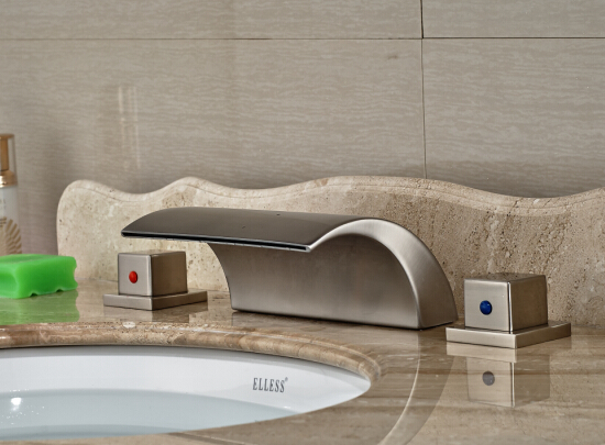 Luxury Bathroom Deck Mounted Basin Faucet Sink Mixer Tap Dual Handles Basin Mixer Nickel Brushed stainless steel brushed nickel finished bathroom waterfall basin sink mixer faucet taps dual handles deck mounted