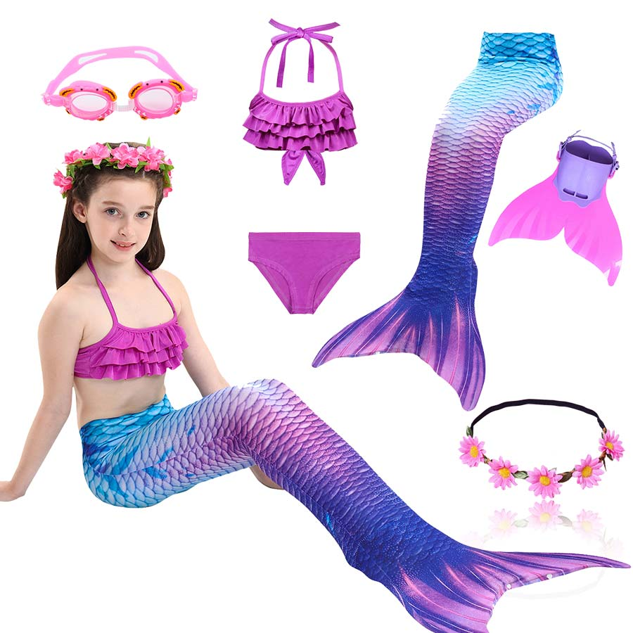 Girls Swimming Mermaid Tail Cosplay Mermaid Costume Swimsuit With or No Monofin Fin Flipper Kids Swimmable Children Swimwear Set(China)