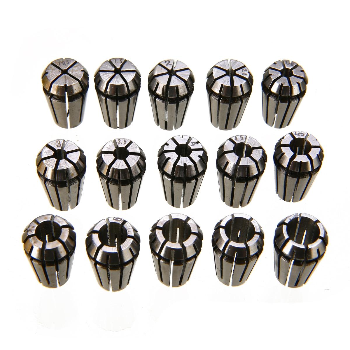 15pcs/set ER11 Spring Collet Set 1-7mm Precision Collet Chuck Set For CNC Engraving Machine Lathe Mill Tool