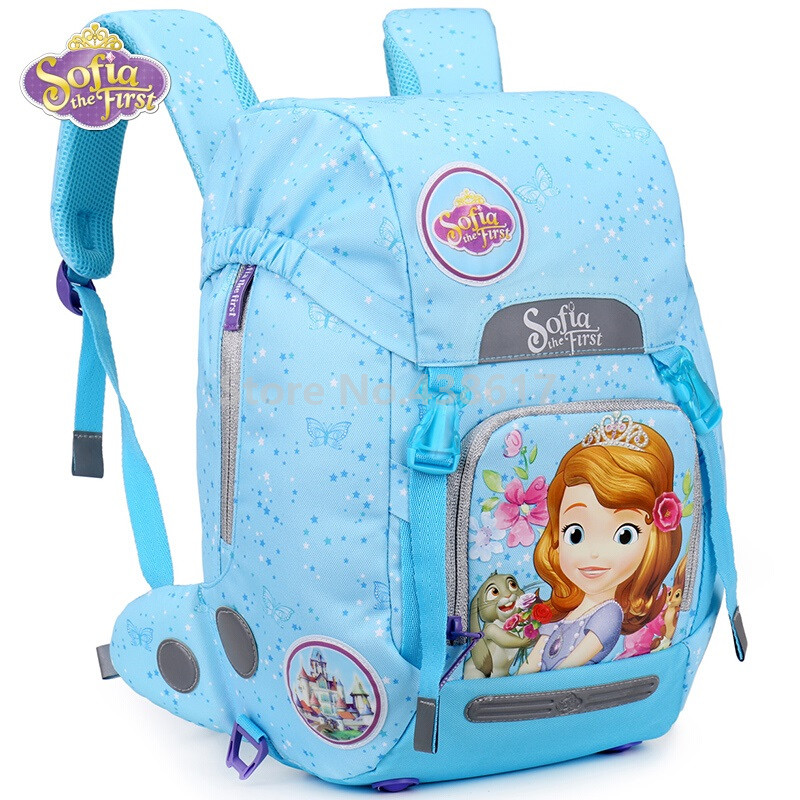 New Blue Sofia the First Princess Sofia Backpack School Bags for Kids Girls Children Primary School