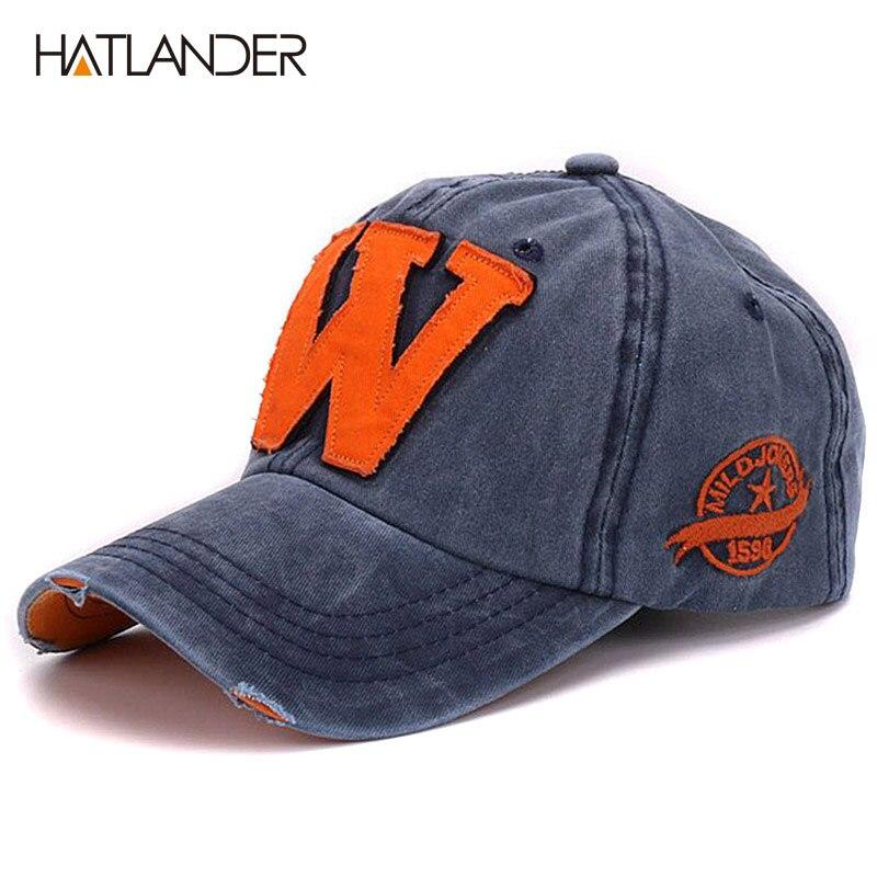 Prix pour Hatlander coton lettre W Casquette de baseball rétro sports de plein air caps femmes os gorras courbe équipée lavé vintage papa chapeaux pour hommes