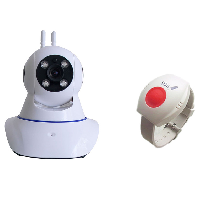 Camera WIFI Wireless IP Mini CCTV Home Security Burglar Camera 433MHz SOS Panic Button For Elderly Alarm System IOS APP W11M wireless service call bell system popular in restaurant ce passed 433 92mhz full equipment watch pager 1 watch 7 call button