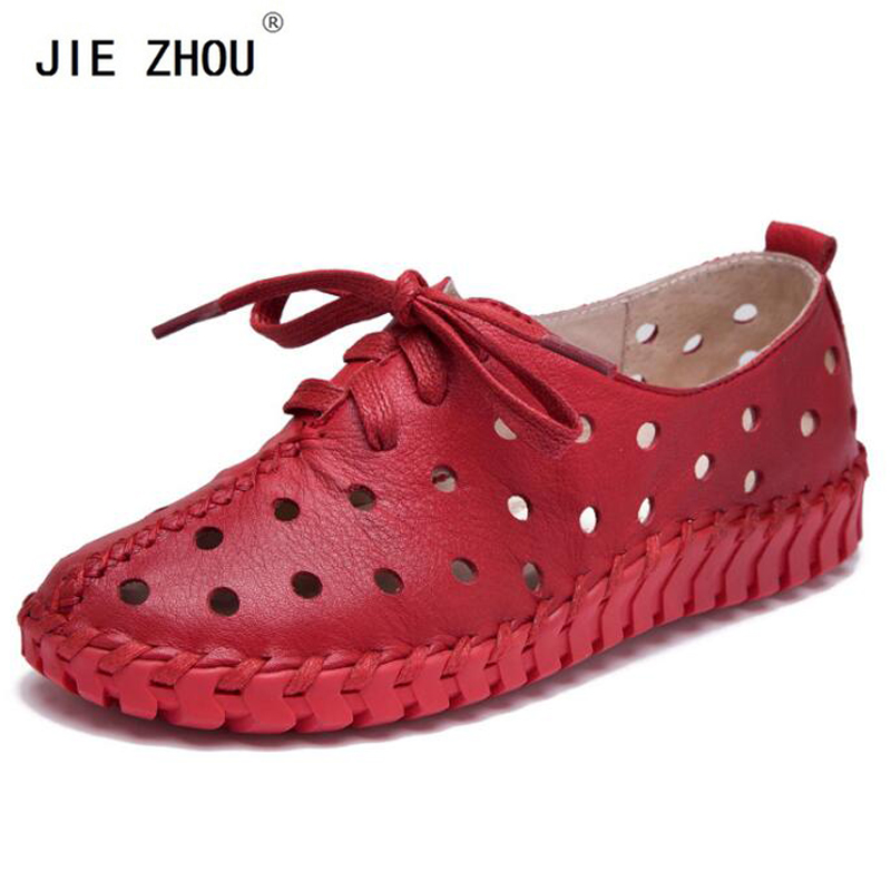 Summer Sandals New Genuine Leather Shoes Woman Hollow Female Lace Genuine Leather Flats Women shoes Casual