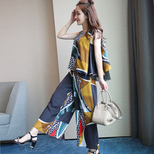 [XITAO] NEW ARRIVALS casual patch work sleeveless pullovers bat form tops & ankle-length wide legs elastic waist BottomsTYB-002