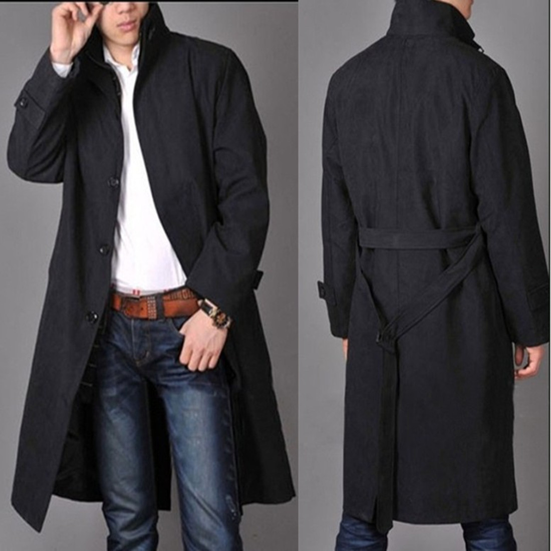 2019 Hot sale Free shipping Men fashion high qulity long   trench   Coat / M-4XL