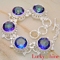 Fashion New Rainbow queen lady silver jewelry round mystical rhinestone for women Luckyshine Chain bracelets