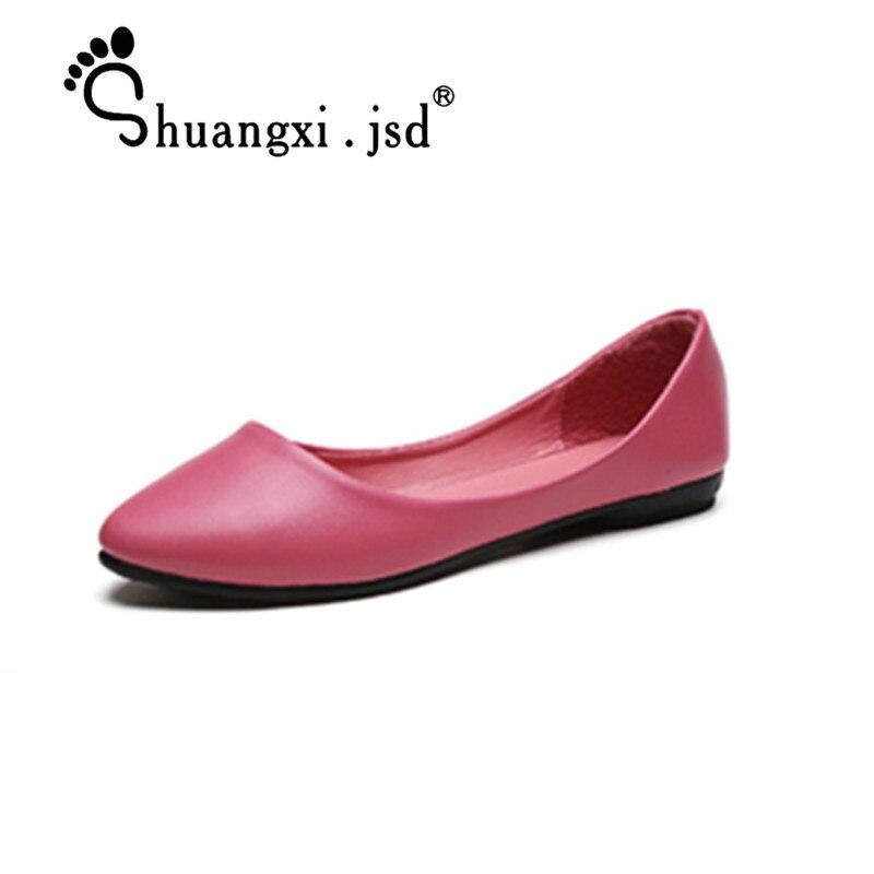 Shuangxi.jsd kingad naine 2018 sügis uus moe brändi naiste töö kingad must madal lamedad kingad suurus 36-40 Zapatos Mujer