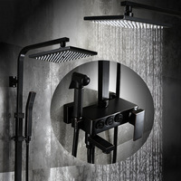 European Full Copper Shower Set Antique Black Suit Bathroom Generous Body Press Button Square Nozzle With Spray Gun Shower
