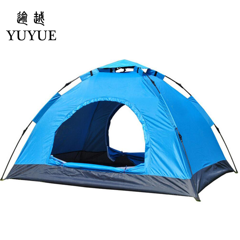 3-4 person cheap tent camping for cleary day hiking outdoor camping tente camping randonnee automatic tent  for family outings 0
