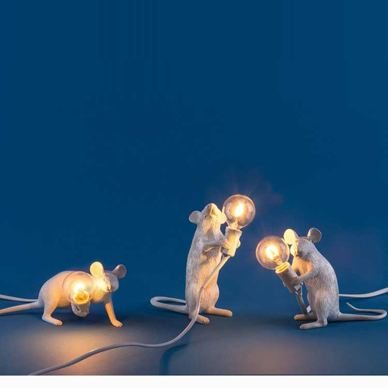 Nordic маленьких Мышь Настольные лампы для Спальня Книги по искусству Ночной Настольная лампа Abajur Luminaria Night светильники смолы настольная лампа