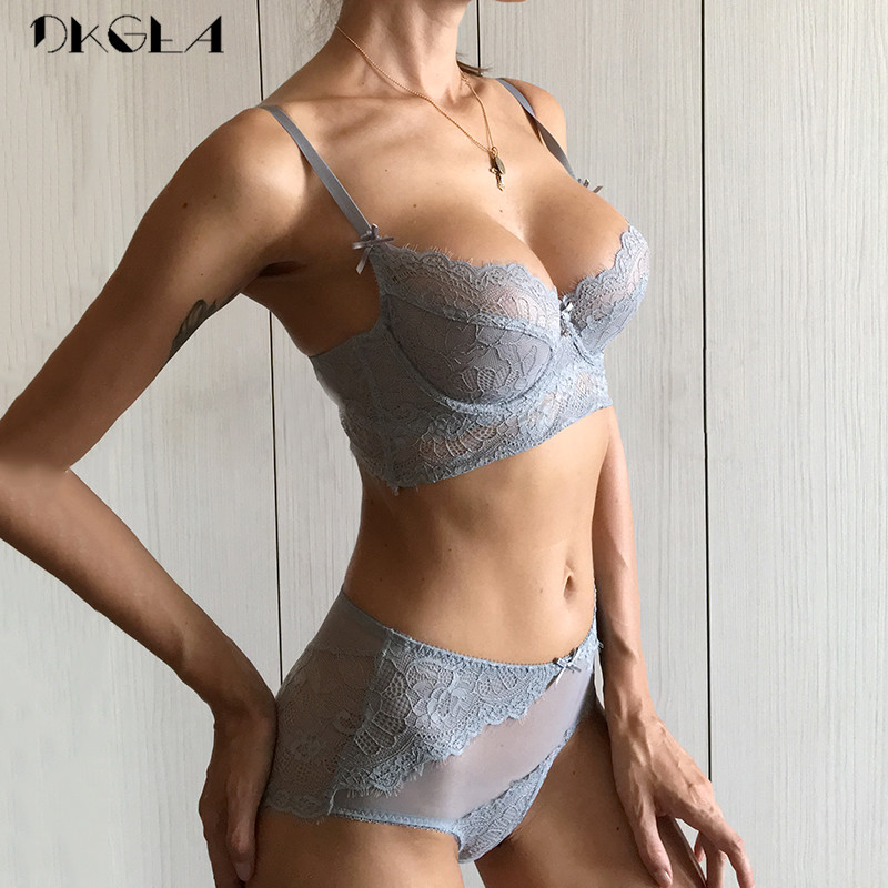 Deep V Sexy Underwear Ultrathin   Bra     Set   Plus Size Brassiere Green Women Lingerie   Set   Lace Embroidery Transparent   Bra   Panties   Set