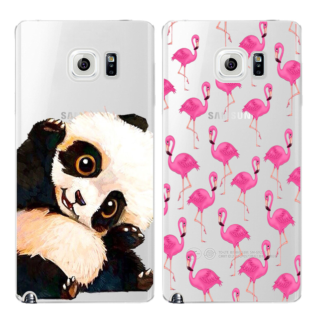 Panda Flamingos Note5 Cover Silicone Phone Cases For Samsung Galaxy Note 5 Case Tpu Soft Protective Clear Back Shell