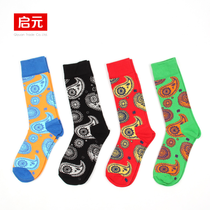New Korea Tide Cotton Happy Socks Men Jacquard Totem Long Couple Wholesale Meias Funny Sokken Chaussette Homme Winter Calze