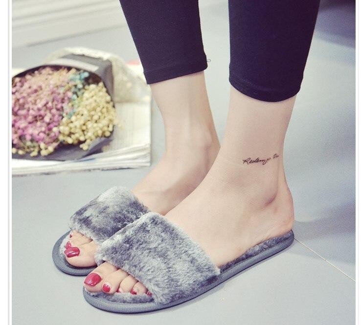 Winter soft floor slippers ladies plush indoor cotton slippers  ORATEE winter