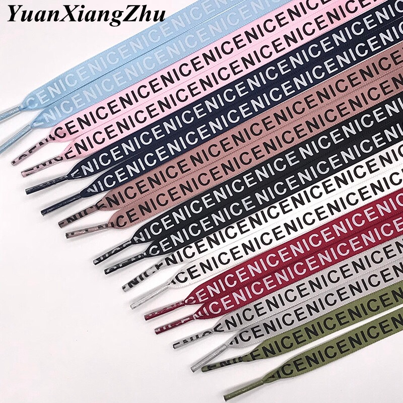 1 Pair New Letter Printed Laces 1CM Width 80CM/100CM/120CM/140CM/160CM Length Canvas Sneakers Shoelaces ZM1