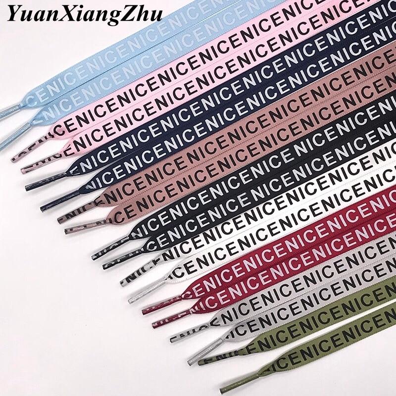 1 Pair New Letter Printed Laces 1CM Width 80CM/100CM/120CM/140CM/160CM Length Canvas Sneakers Shoelaces ZM1