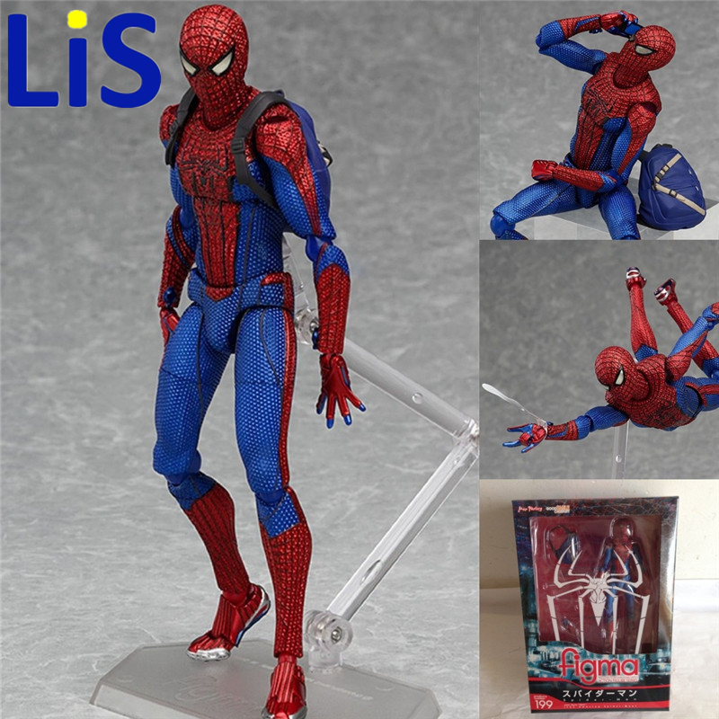 Lis Figma Spiderman toys The Amazing spider man Action Toy Figures Figma 199 toys Ultimate Series Toys 15CM PVC  free shipping 6 spider man the amazing spiderman boxed 15cm pvc action figure collection model doll toy gift figma 199