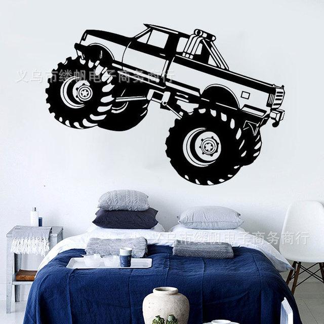 Monster Truck Car SUV Wall Sticker For Kids Room Boy Nursery Bedroom Vinyl  Mural Home Decals