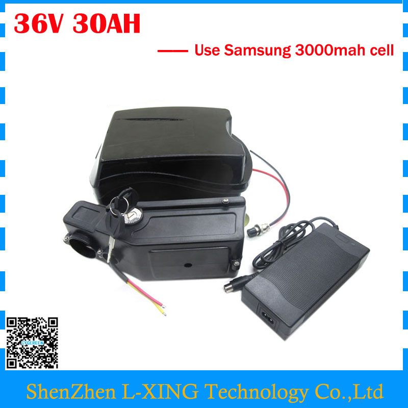 Free customs duty 36V EBike battery 36V 30AH lithium Bicycle battery Use for samsung 3000mah cell 30A BMS with 42V 2A Charger free customs taxes high quality skyy 48 volt li ion battery pack with charger and bms for 48v 15ah lithium battery pack