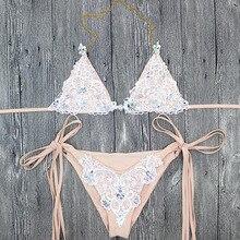 Women Bikini Lace Push Up Rhinestone Diamond Crystal
