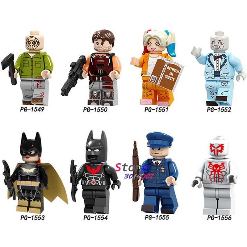 واحد سبايدرمان الجمعة السوداء هدهونتر باتمان القاتل هارلي كوين مهرج الخفافيش رجل الشكل الطوب ألعاب مكعبات البناء للأطفال