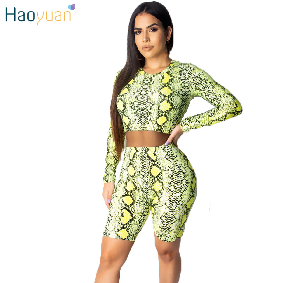 HAOYUAN Snake Skin Print 2 Two Piece Set Women Tracksuit Crop Top and Biker Shorts Suit Sexy Club Outfits Festival Matching Sets