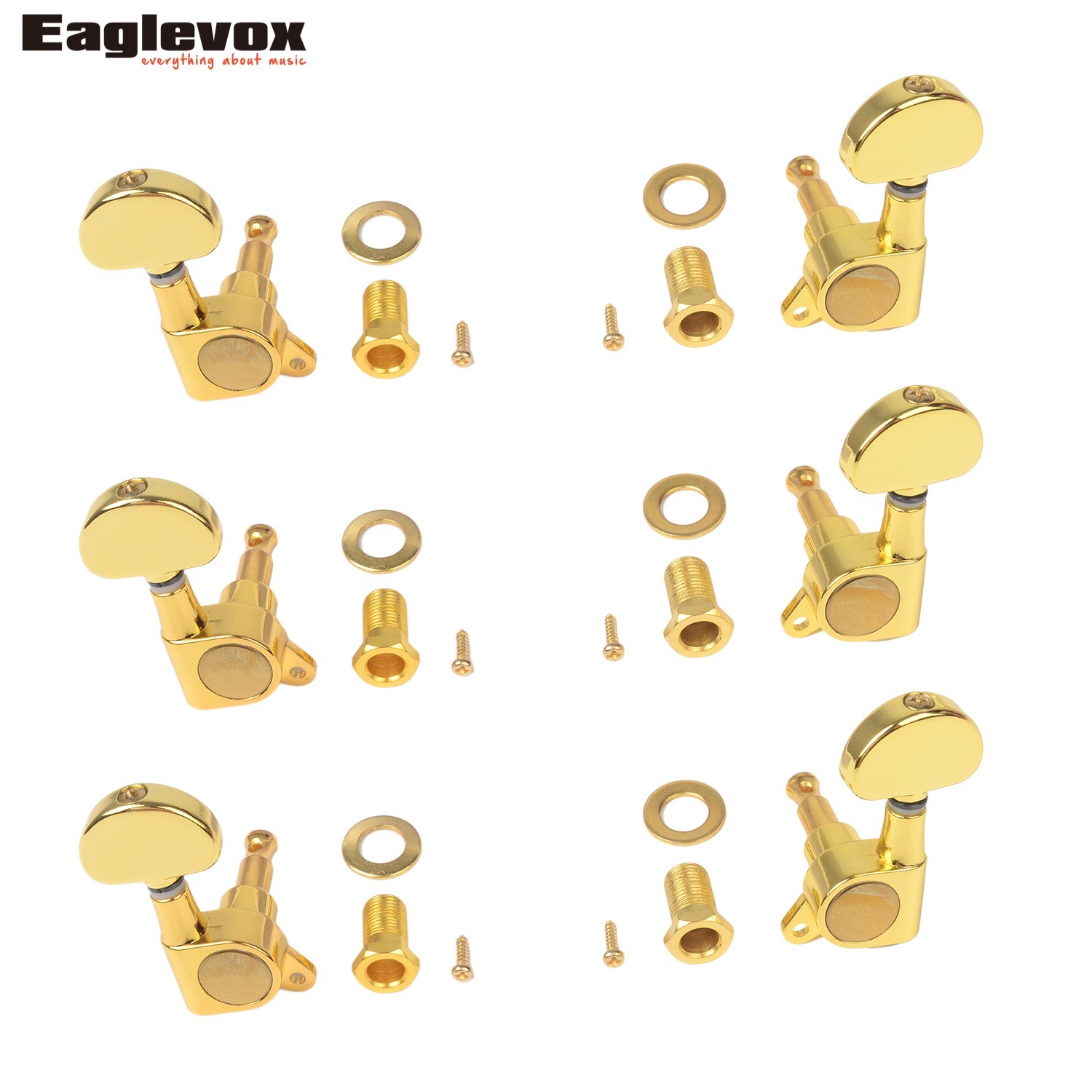 6 Pieces Acoustic Guitar Machine Heads Knobs Guitar String Tuning Peg Tuner Closed Knob Gold Plated Zinc Alloy AD-016JP sews alice aos 020b1p 2pcs left right classical guitar tuning key plated peg tuner machine head string tuner