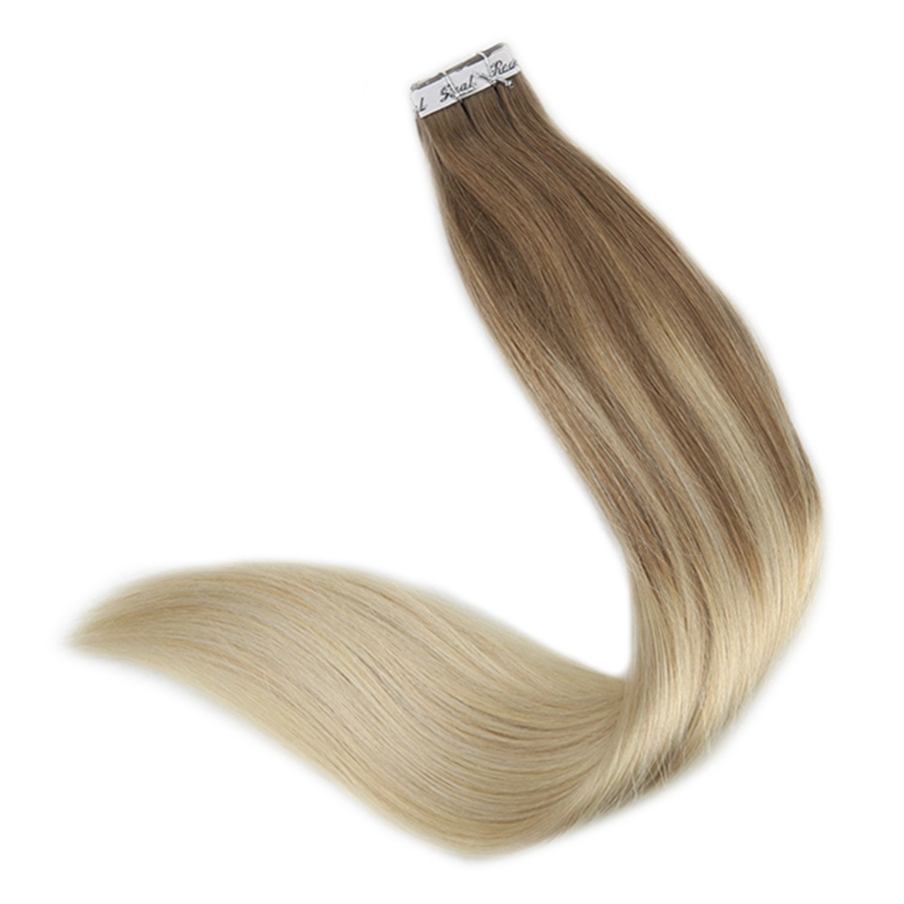 Full Shine Tape in Balayage Color #8 Ash Brown Fading to #60 White Blonde Hair Pieces Remy Human Hair Extension Cheveux Adhesive