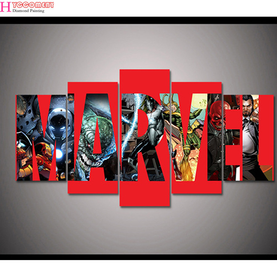shipping 5 panel printed canvas painting 5D Diamond Painting cross stitch Marvel Superheroes 3D embroidery Mosaic