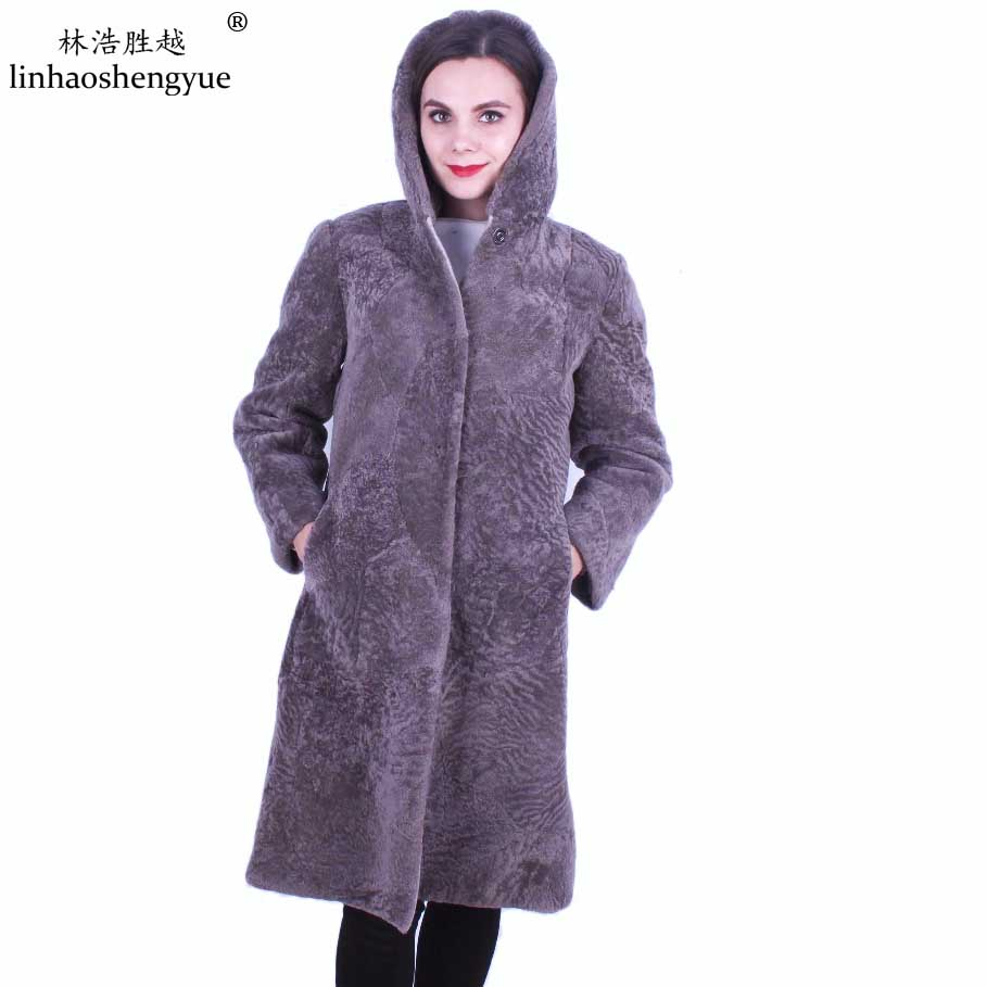 Linhaoshengyue fashion lady Quality Sheepskin Coat Women  Winter Cashmere Long Fur Coat-in Real Fur from Women's Clothing    1