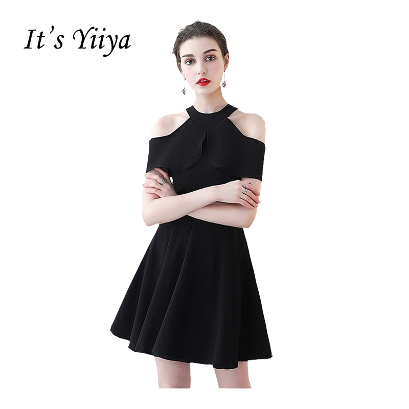 a04c07b4f6 It s YiiYa Black New Sleeveless Halter Graduation Frock Simple Satin Knee-Length  Zipper Quality Sexy Short Graduation Dress L097