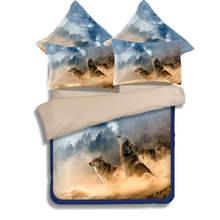 3D プリント布団寝具セットツインフルクイーン、キングサイズのキルト/布団カバー オオカミ動物 子供の大人ベッドリネンブラウン