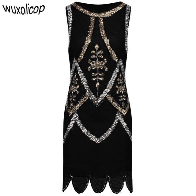 Women Little Black Dress 1920s Fler Gatsby Charleston Sequin Bead Vintage O Neck Sleeveless Embroidery