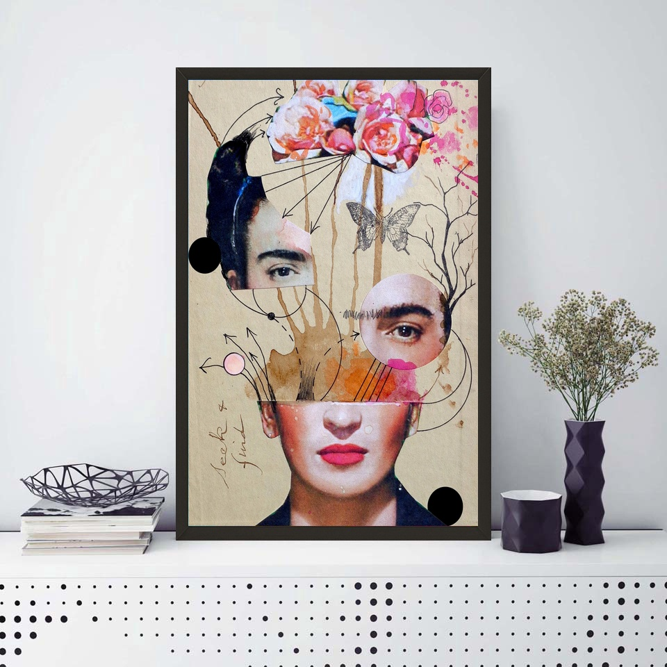 Frida Kahlo Self Taught Self Portraits Art Poster Canvas Print No ...
