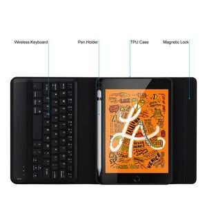 Image 5 - SeenDa kablosuz klavye için iPad Mini 5 kablosuz Bluetooth klavye kılıf kapak klavye keten iPad Mini 5 için kapak