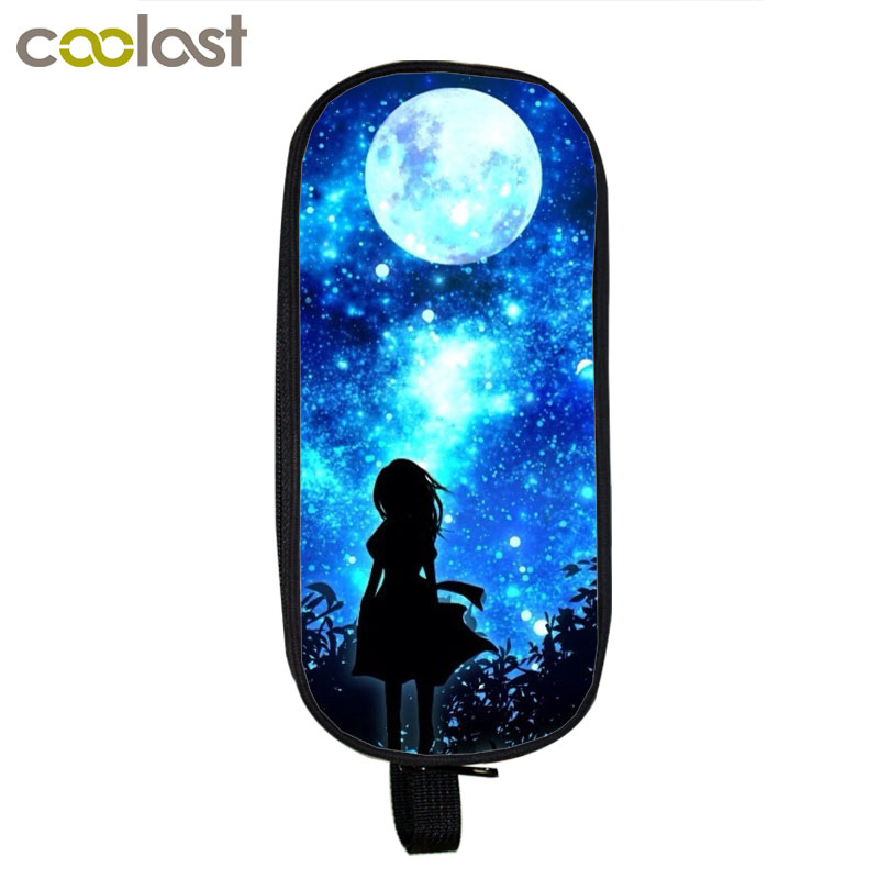 Galaxy Starry Night Sky Cosmetic Cases Cheshire Cat Pencil Holder Boys Girls School Supplies Case Universal Wolf Bag Kids Cases цена 2017