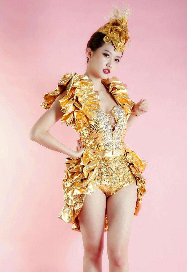 Chanteuse Dsdj Thème Partie De Modèle Gold Spectacle Discothèque Or Queue Concert Danse Stage Et Costume Paillettes Body Porter Bar 5ARjLc3q4