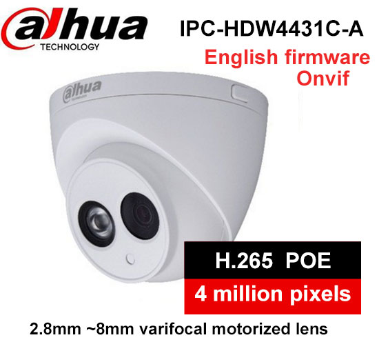 Dahua H2.65 IPC-HDW4431C-A Built-in MIC HD 4MP IR 50m network IP Camera cctv Dome Camera Support POE HDW4431C-A dahua 4mp ip camera ipc hdw4433c a replace ipc hdw4431c a poe ir30m h 265 built in mic cctv dome camera multiple language