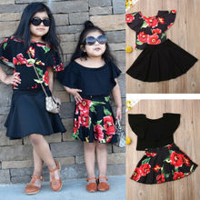 New Fashion Baby Colthing Toddler Girls Clothes Off Black Shoulder Crop Tops+ Rose Flower Skirts Outfits Set children