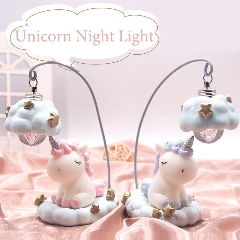 Ins Cartoon Einhorn Lampe LED Nacht Licht Luminaria Baby Kindergarten Nacht Lampe Einhorn Spielzeug Puppen Für Baby Kinder Geschenk Hause dekoration