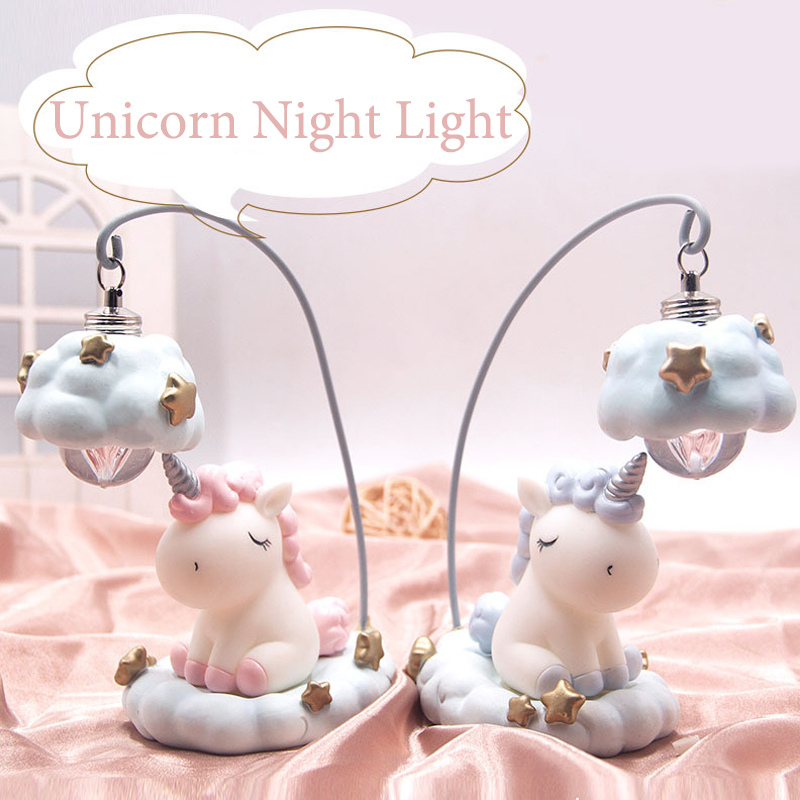 Ins Cartoon Unicorn Lamp LED Night Light Luminaria Baby Nursery Night Lamp Unicorn Toy Dolls For Baby Kids Gift Home Decoration artpad baby night light led unicorn shape lamp mood light baby nursery lamp great for children gift bedroom decor night lamps