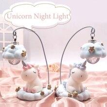 תוספות קריקטורה חד קרן מנורת LED לילה אור Luminaria תינוק משתלת לילה מנורת Unicorn צעצוע בובות תינוק ילדים מתנת עיצוב הבית