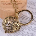 Magnifier de vidro pingente de sol com a lua e as estrelas colar antique jóia do ouro abre e fecha