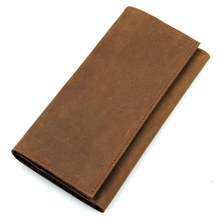 Genuine Crazy Horse Leather Long Purse Mens Vintage Classic Credit Card Wallet Slim Light Casual 8110B-1