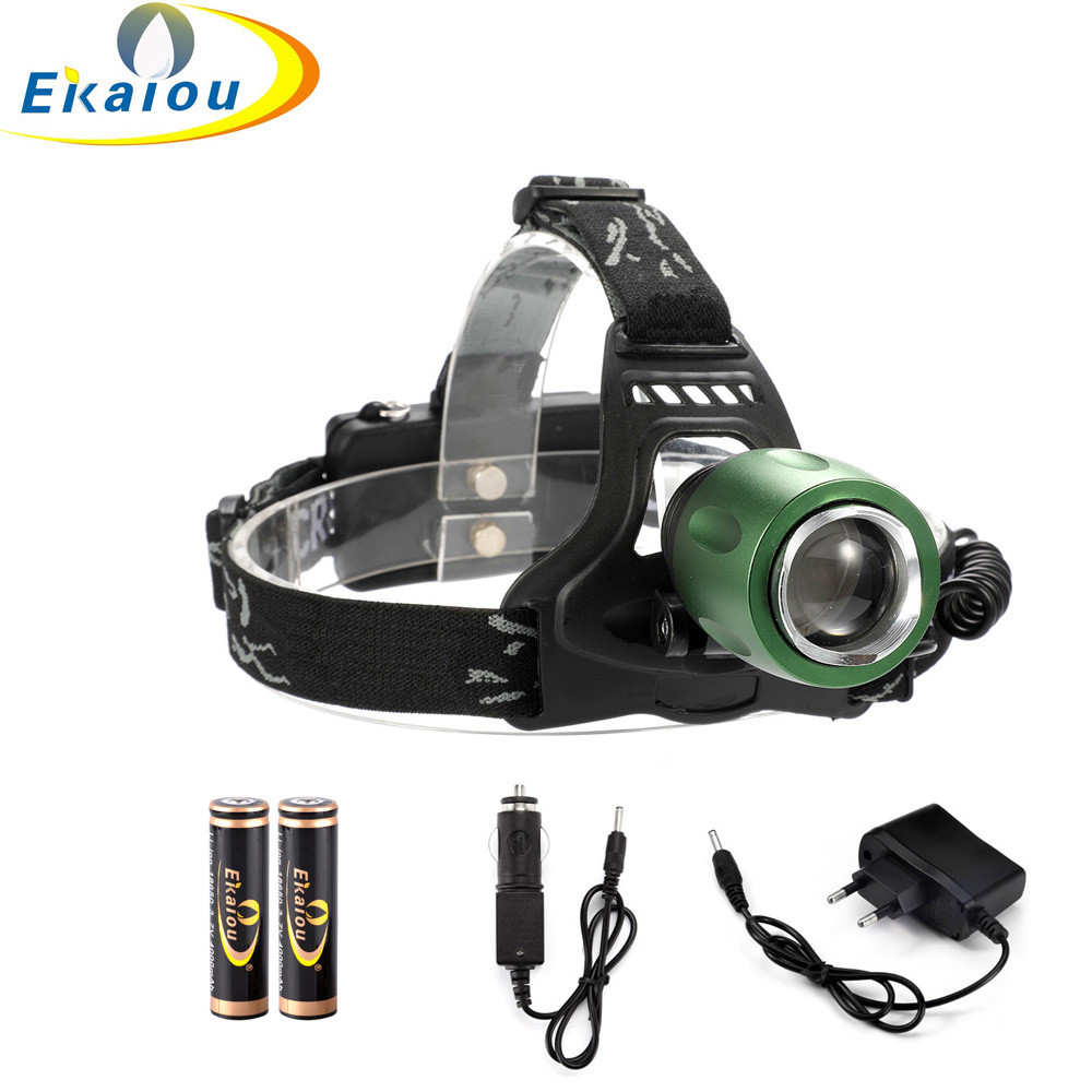 60000 LM XM L T6 LED Headlight Zoomable Flashlight Head Lamp Light 2x18650 BR