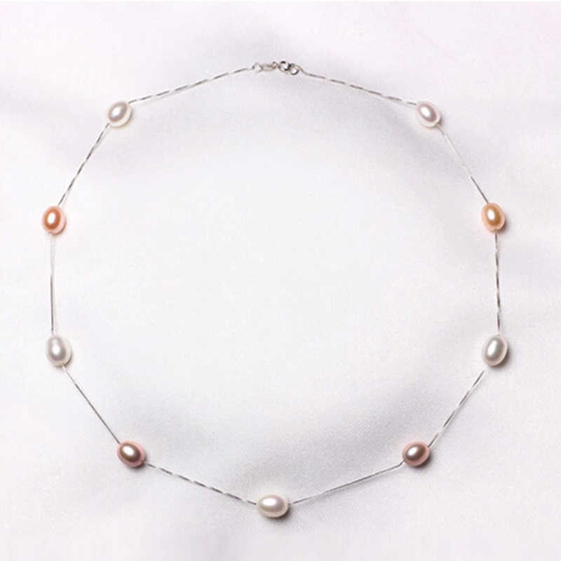 RUNZHUQIYUAN 2017 100% natural freshwater pearl choker necklace 925 sterling Silver Jewelry 7-8mm real Pearl For Women Best Gift