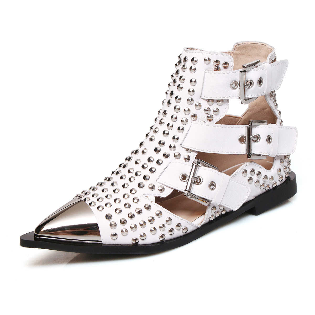 2019 г., осенние женские ботильоны с заклепками Черные полусапожки с ремешками и пряжкой модные брендовые туфли на плоской подошве с металлическим острым носком в стиле панк