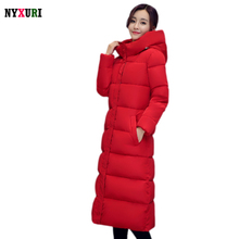 Fashion 2016 Winter Thick Warm Women's Cotton Slim Long Coat Hooded High Quality Coats Overcoat Plus Size Parkas mujer invierno