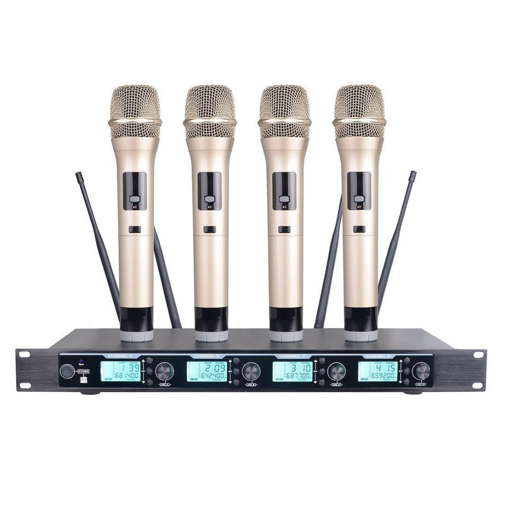 bolymic wireless microphone karaoke 4 microphone wireless system uhf pro golden handheld in. Black Bedroom Furniture Sets. Home Design Ideas