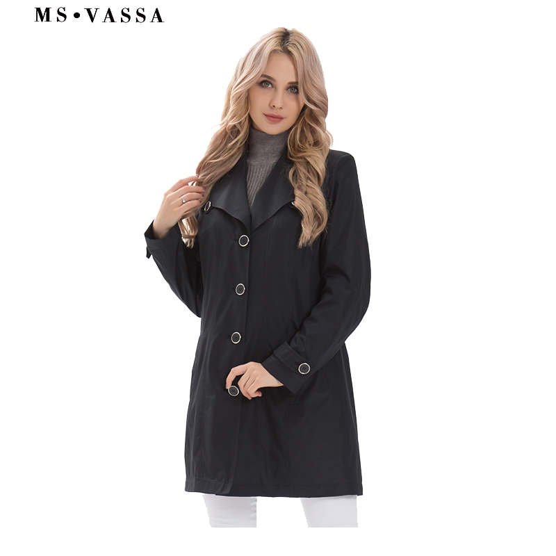 MS VASSA   Trench   Coat Women 2019 New Spring fashion Coats ladies casual   trench   plus size 5XL,10XL turn-down collar outerwear